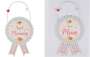 Number One Mum Mummy Rosette Gift Hanging Decoration Sign Wood Mothers Day
