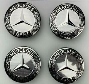 Set of 4 Silver& Black Mercedes Benz Alloy Wheel Centre Caps 75mm Hub Badges