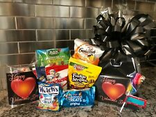 Valentines Kids Gift Basket-Box & Chocolates-Cookies-Candy Black Box - Black Bow