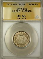 1877 Great Britain Die 11 1S Shilling Silver Coin ANACS AU-55 Details Cleaned