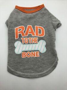 Handsome Pete Boy Dog Puppy Tee Shirt Grey With Rad To The Bone Design Size XS
