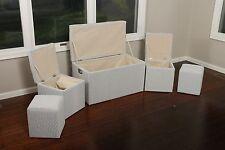 5 Pc Cloth Storage Ottoman Stools 33 x 17.5 x 18.5 1347 Grey and White