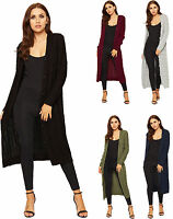 Ladies Womens Cable Knitted Midi Cardigan Button Long Sleeve Plain Stretch 8-14