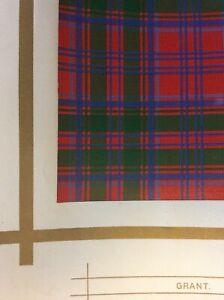Original 1877 Antique Scottish Highland Clan Grant Tartan Colour Print