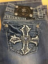 MISS ME Rhinestone Cross jeans size 28 JP5854B bootcut wash MK 185 distressed