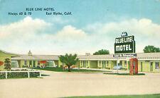 Blue Line Motel East Blythe Postcard c1940s CaliforniaTelephone Booth Retro Sign