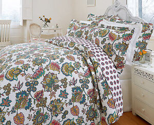 Hotel Quality Indian Tree Quilted Bedspread Throw Set and Pillowsham Oriental