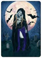 Gothic Fantasy Art ACEO PRINT  HALLOWEEN Witch Bats Harvest Moon night cemetery
