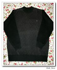 NEW Plover MEN'S Crewneck Cardigans cashmere Pullover Diagonal Sweater BLACK M