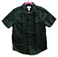 American Rag Button Down Casual Short Sleeve Men's Black Size Medium 100% Cotton