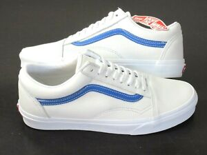 Vans Womens Old Skool Leather Pop Skate shoes True White Victoria Blue Size 8.5