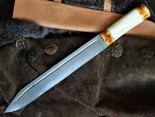 Sax- Mittelalter- Wikingermesser-Damastmesser-Handgeschmiedet -Holz -43+cm (K41)