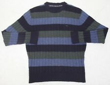 Greg Norman Shark Sweater Mens Crewneck Striped Large Long Sleeve Blue Green Man