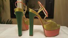 $850 Brian Atwood Green Pink Satin Platform T-Strap High Heels 36/6