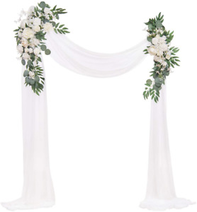 Ling's moment Artificial Wedding Arch Flowers KitPack of 3 - 2pcs Ivory Greenery