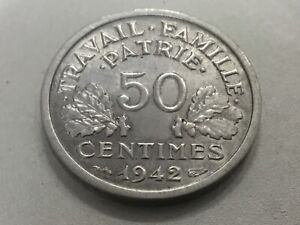 50 centimes 1942 Francisque lourde