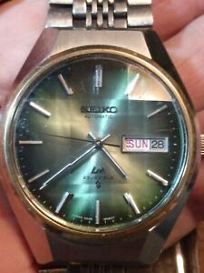 Vintage August 75 Seiko Lordmatic LM 5606-8130 Watch, JDM, faceted xtal, Works