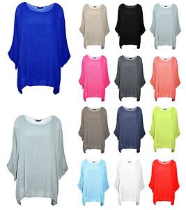 New Italian Lagenlook Ladies Plain Loose Batwing Cotton Kimono Sleeve Baggy Top