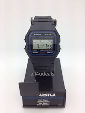 Mens Casio F91W-1 Classic Black Rubber Resin Digital Sport Alarm Watch