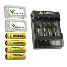XTAR VP4 Charger w/4x NL1835 Rechargeable 18650 Batteries +2x Battery Cases