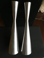"Set Of 2 IKEA 9"" Tall Chrome Metal  Candle Holder Heavy Danish Modern"