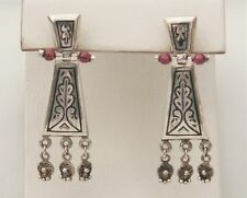 """Artisan Syled 1 3/4"""" Sterling Silver Hinged Etched Beaded Drop Earrings"""