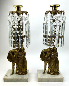 Antique 2pc Figural Girandole Gilt Bronze Brass Candle Holders w Crystal Prisms