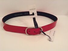 BNWT 100% Auth Calvin Klein Ladies Mexican Red belt With Logo. 90