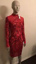 Fashion Nova Sequin Red Neck Holiday Party Long Sleeve Sexy Mesh Dress 💕 Xmas