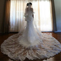 White Ivory Wedding Bridal Veil Cathedral Long Length Appliques with Free Comb