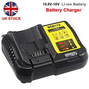Li-Ion Battery Charger Fit for DeWalt DCB112 DCB115 XR Multi Voltage 10.8v -18v