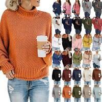 Women Oversized Knitted Sweater Loose Long Sleeve Sweatshirt Jumper Blouse Tops