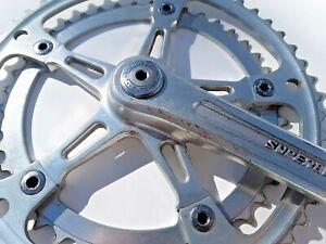 """Vintage Suntour Superbe Crank 170mm Length 9/16"""" Road Bike 52/42t W/ Dustcaps"""