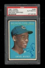 1961 Topps BB #485 Ernie Banks Chicago Cubs AUTOGRAPH NL MVP 1958-59 PSA/DNA !!!