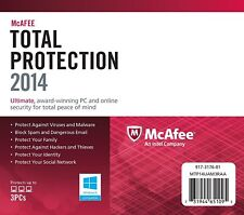 NEW McAfee Total Protection 2014 PC - 3 Users