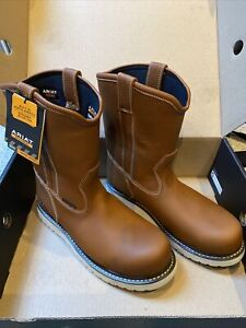 *(SIZE 11 EE Wide)*Ariat Rebar Wedge Pull-On H20 Comp Toe Golden Grizzly
