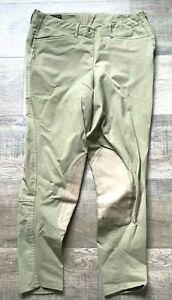 ARIAT -  GIRLS 14 - GREEN TAN  KNEE PATCH RIDING BREECHES W/ SIDE ZIPPER PANTS
