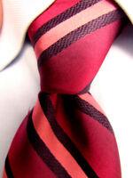 Men's Express Design Studio Red Striped Silk Tie A27505