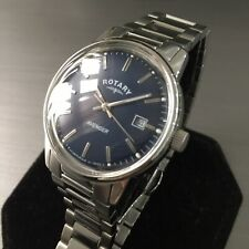 Mens Rotary Dress Watch AVENGER Navy Blue Steel Vintage GS02874 Genuine Mid Size