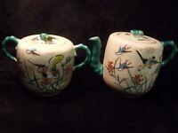 ANTIQUE HAND PAINTED JAPANESE SATSUMA BIRDS TEAPOT AND MATCHING TEA JAR
