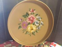 Nashco Handpainted Tole Tray-Gold- Pink/Yellow/Blue/Purple Flowers-Vintage!