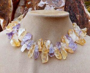 Aimee Fuller Amethyst Citrine Necklace Raw Stone Purple Lavender Peach Statement