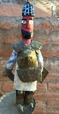 Vintage Tunisia Folk Art Warrior Wood & Metal Doll N.Africa Arab-Berber Handmade