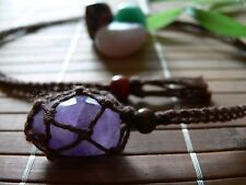 Hand Made Hemp Macrame Pouch Necklace (Interchangeable) Brown & 1 Tumble stone
