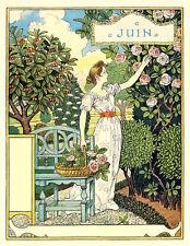 Postcard: Nouveau Print Repro - E. Grasset - June - Woman in Garden, Camellia