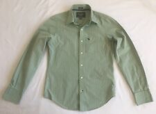 ABERCROMBIE & FITCH Green Blue Striped Muscle Shirt Long Sleeve Sz S Button Down