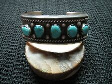 NAVAJO STERLING SILVER TURQUOISE NUGGETS CUFF BRACELET! HEAVY! 71 GRAMS! WOW!