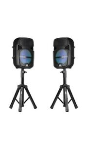 """QFX PBX-808TWS 8"""" Wireless Stereo Speaker with Stand & Microphone - Black, Pair"""