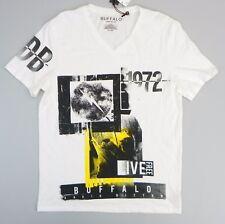 Buffalo David Bitton Mens V Neck Tee Graphic Print T Shirt Pearl White L CS616
