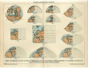 1909 MAP GLOBE PROJECTIONS MERCATOR Antique Map dated